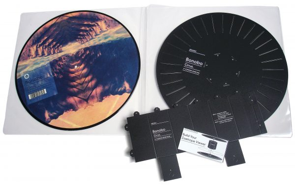 """Bonobo - Cirrus 12"""" picture disc side B by Leif Podhajsky + zoetrope viewer"""