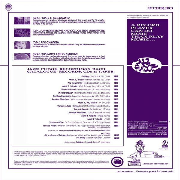 Unused generic Jazz Fudge LP inner sleeve back